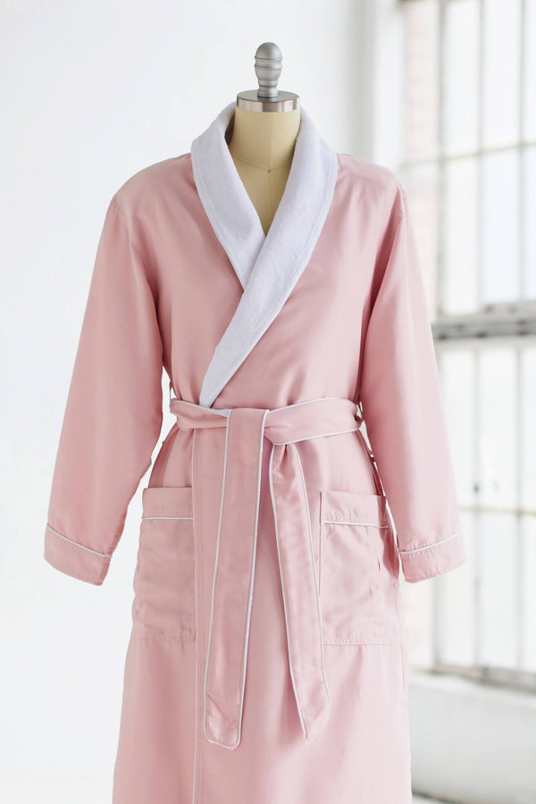 medium weight classic microfiber luxury spa robe in periwinkle blue with white plush liner