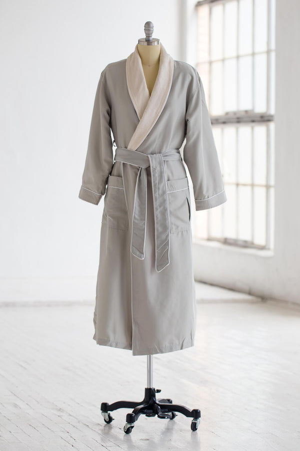 medium weight classic microfiber luxury spa robe in sage green with ivory creme plush liner