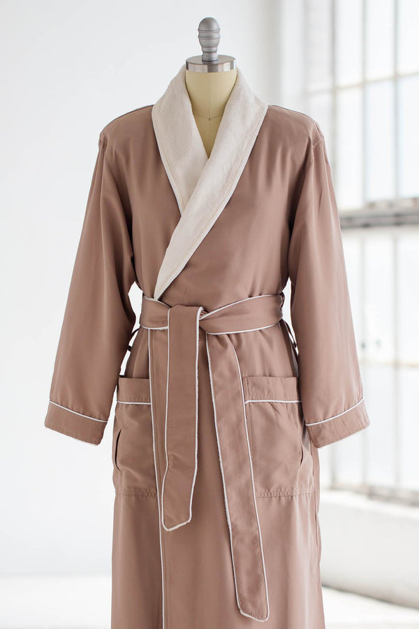 medium weight classic microfiber luxury spa robe in tan brown with ivory creme plush liner