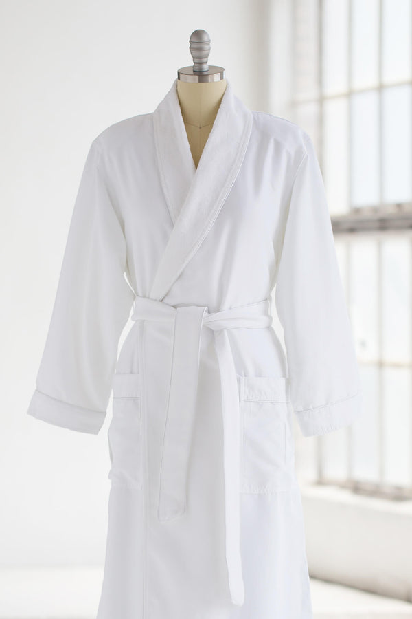 medium weight classic microfiber luxury spa robe in white with plush liner