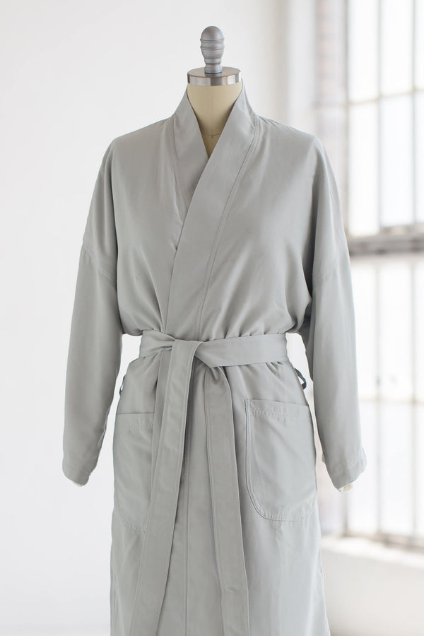silky soft kimono luxury spa robe in sage green with creme ivory plush liner