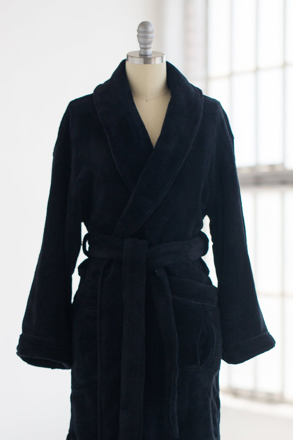 super soft and cozy plush velour luxury spa robe in black