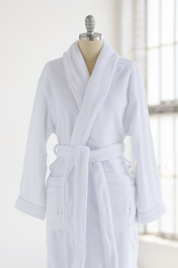 super soft and cozy plush velour luxury spa robe in white
