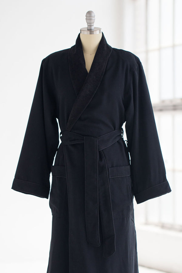 medium weight classic microfiber luxury spa robe in black with terry cloth liner