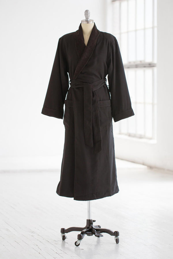 medium weight classic microfiber luxury spa robe in charcoal grey with terry cloth liner