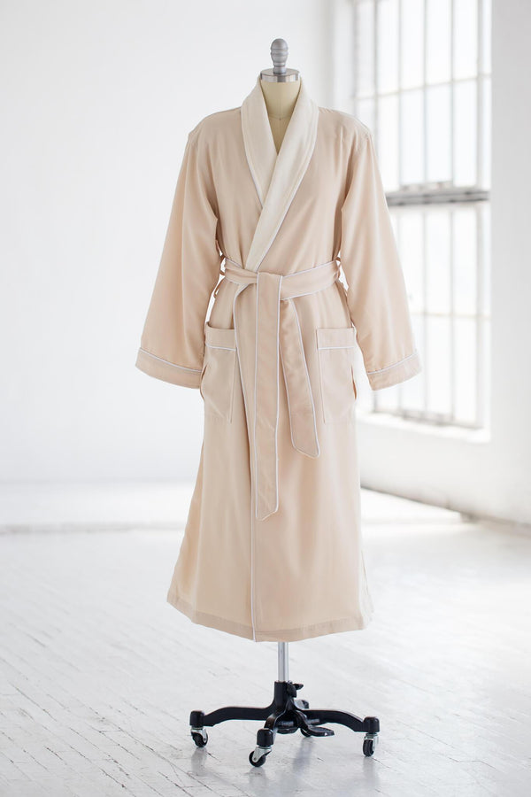 medium weight classic microfiber luxury spa robe in creme ivory with terry cloth liner
