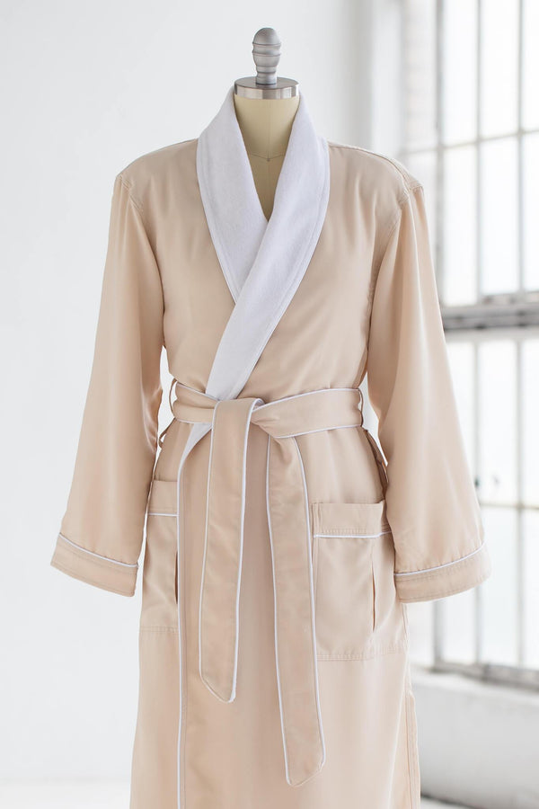 medium weight classic microfiber luxury spa robe in creme ivory with white terry cloth liner