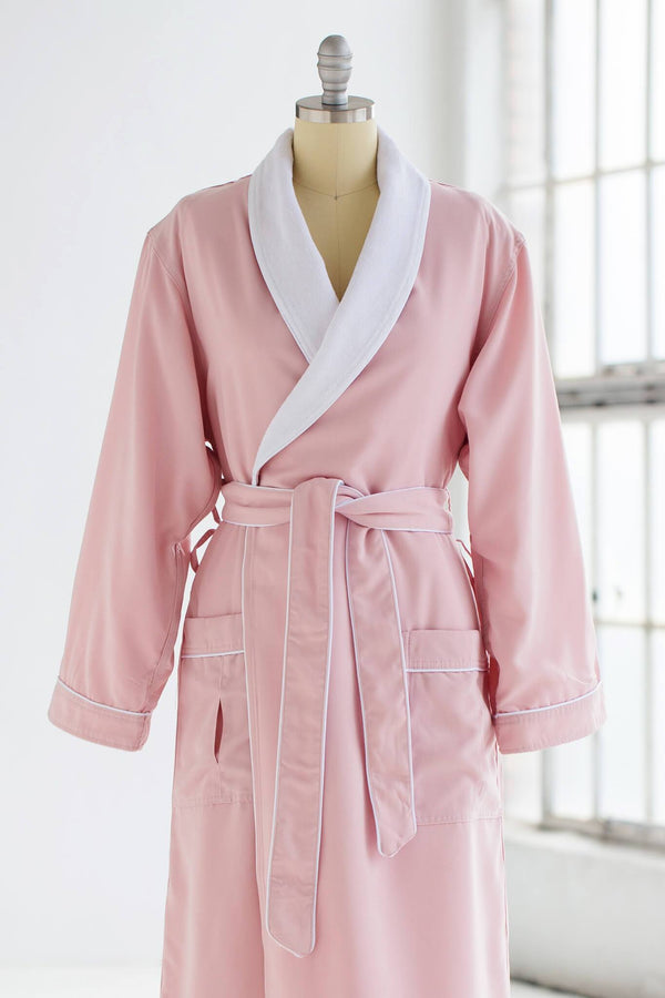 medium weight classic microfiber luxury spa robe in pink with white terry cloth liner