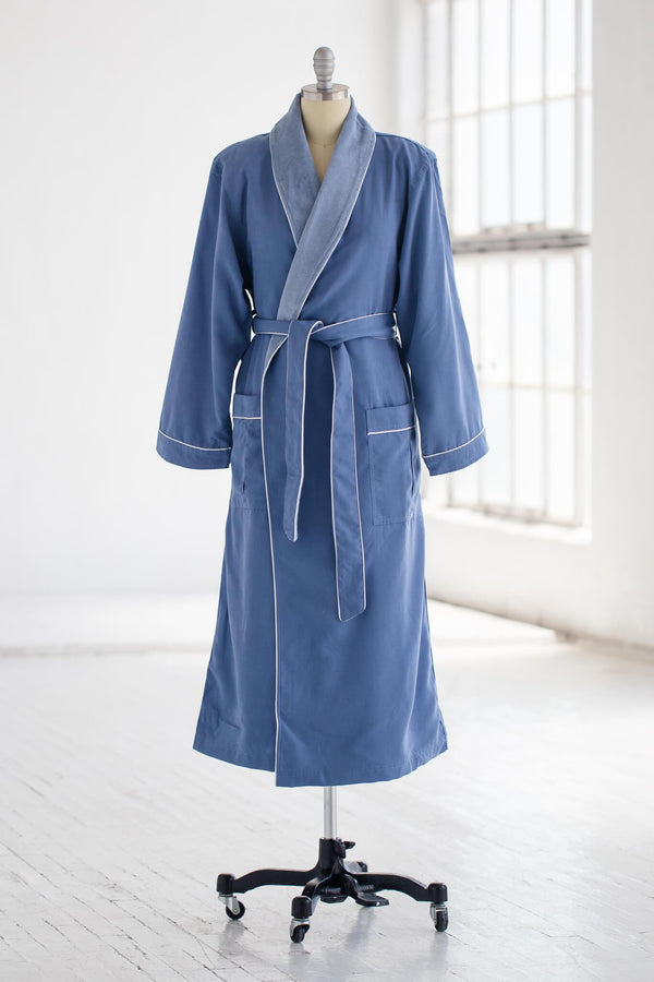 medium weight classic microfiber luxury spa robe in periwinkle blue with terry cloth liner