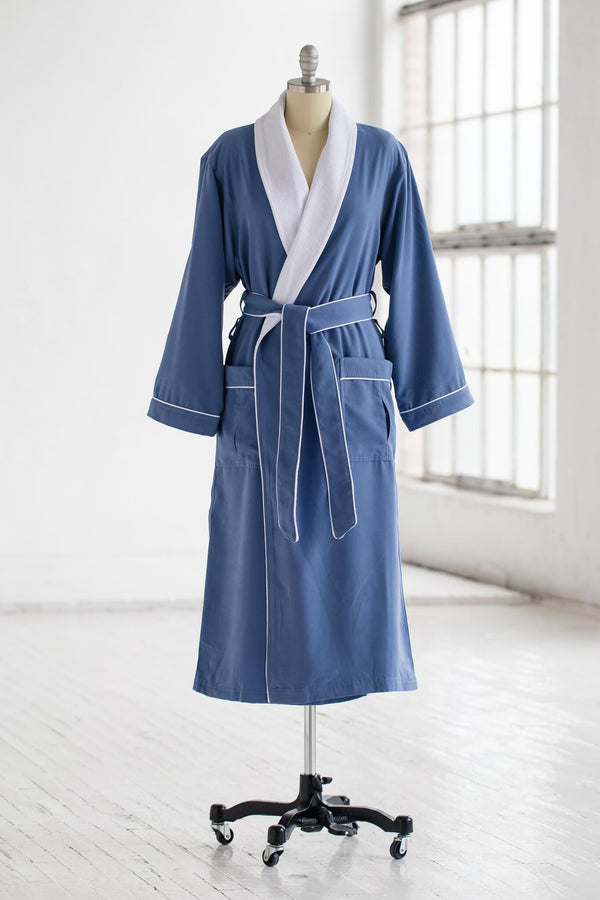 medium weight classic microfiber luxury spa robe in periwinkle blue with white terry cloth liner