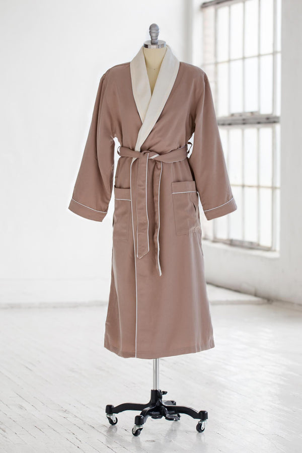 medium weight classic microfiber luxury spa robe in tan brown with creme ivory terry cloth liner