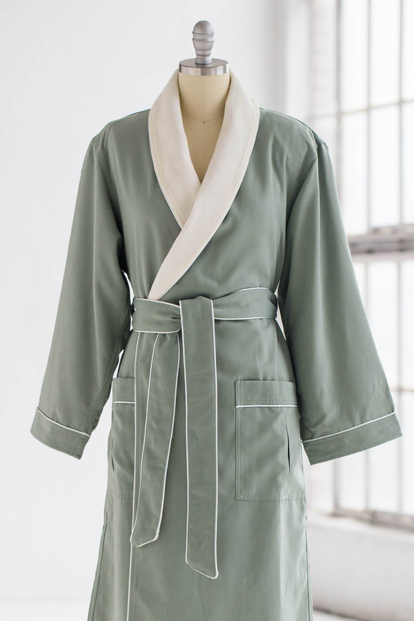medium weight classic microfiber luxury spa robe in green with creme ivory terry cloth liner