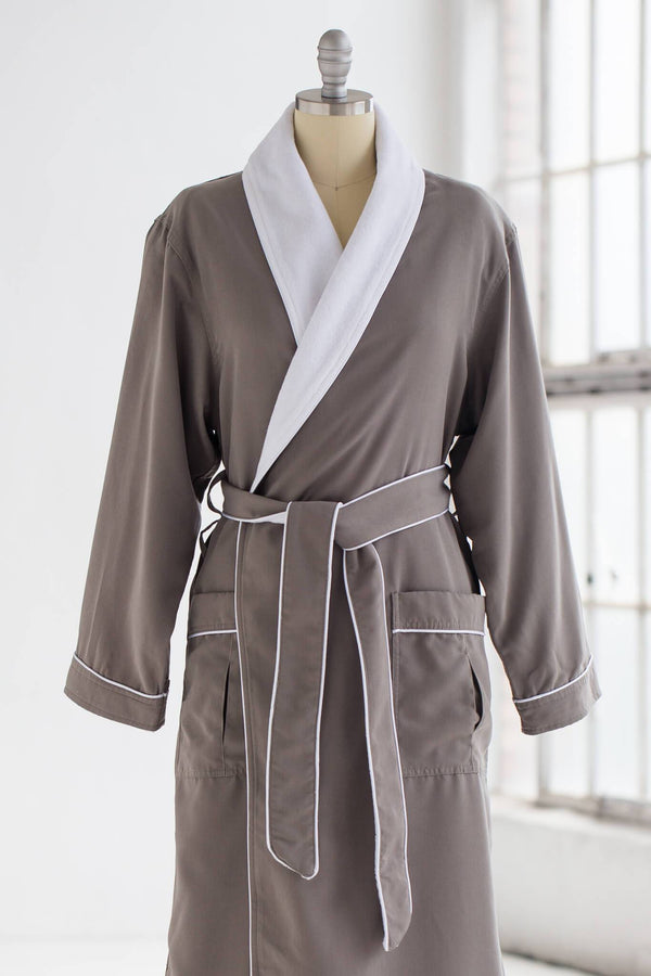 medium weight classic microfiber luxury spa robe in grey gray with creme white terry cloth liner
