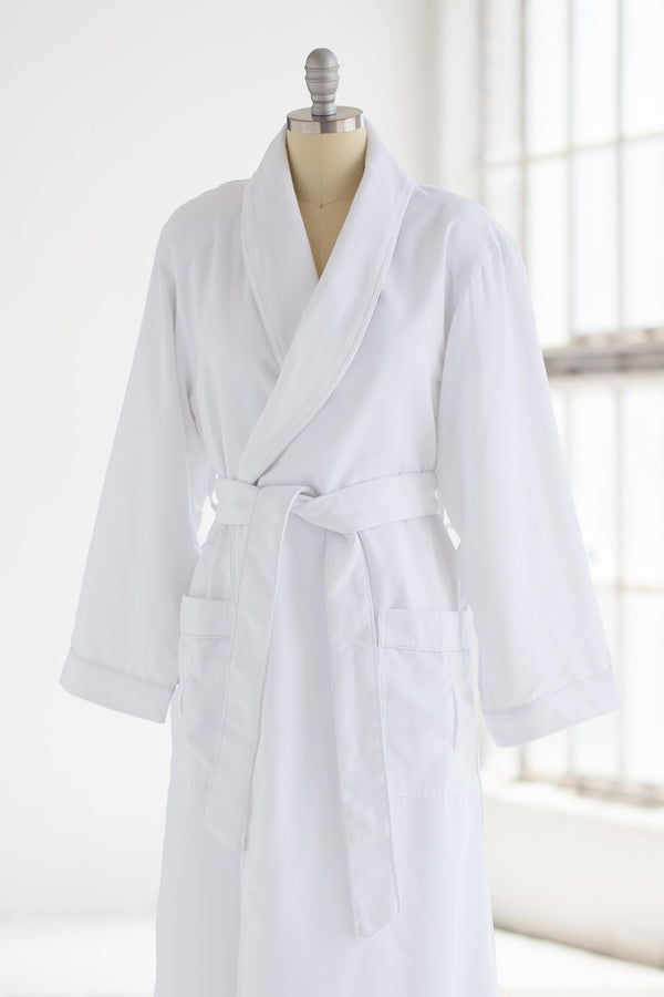 medium weight classic microfiber luxury spa robe in white with creme terry cloth liner