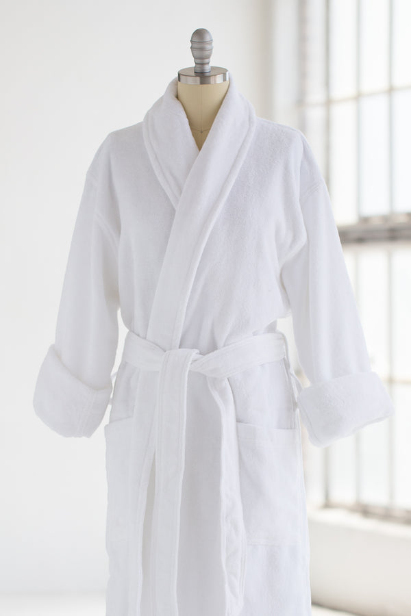 Cotton Terry Velour Spa Robe - White