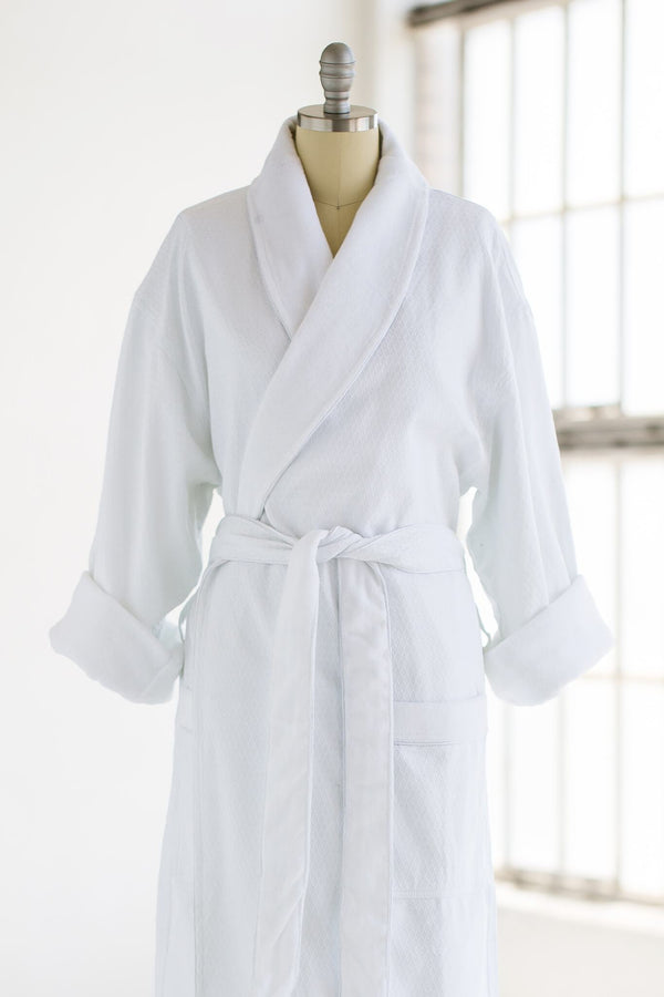 medium weight classic waffle luxury spa robe in white with terry cloth liner