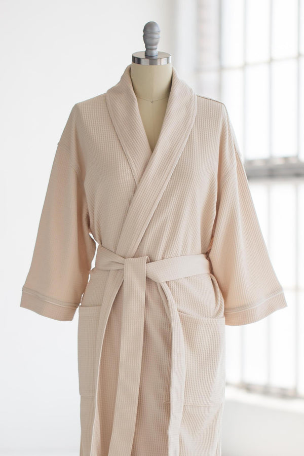 soft knit waffle spa robe in tan ivory creme