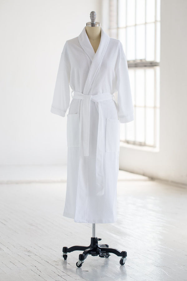 soft knit waffle luxury spa robe in white