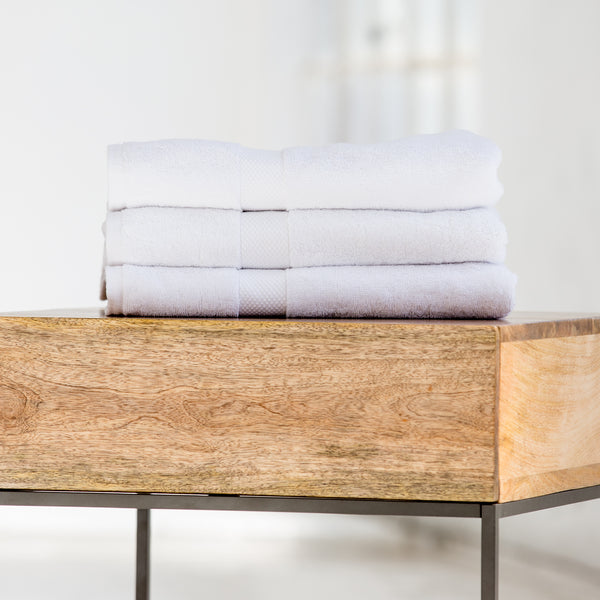 luxury terry cloth white spa towels