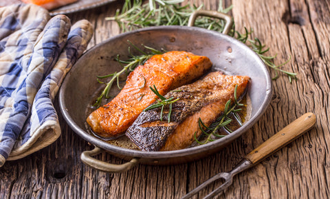 grilled salmon in pan