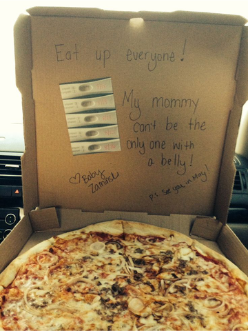 pizza pregnancy announcement