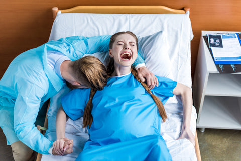 screaming woman in labor