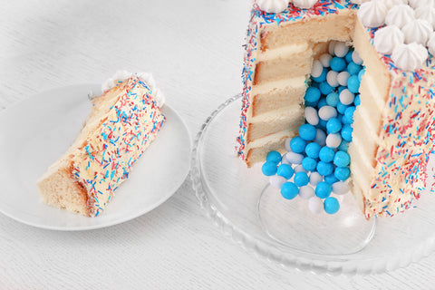 blue gender reveal cake