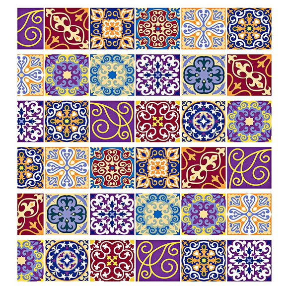 Tile Decals Mexican Traditional Stair Stickers 7.1 x 39.4 inch 6pcs