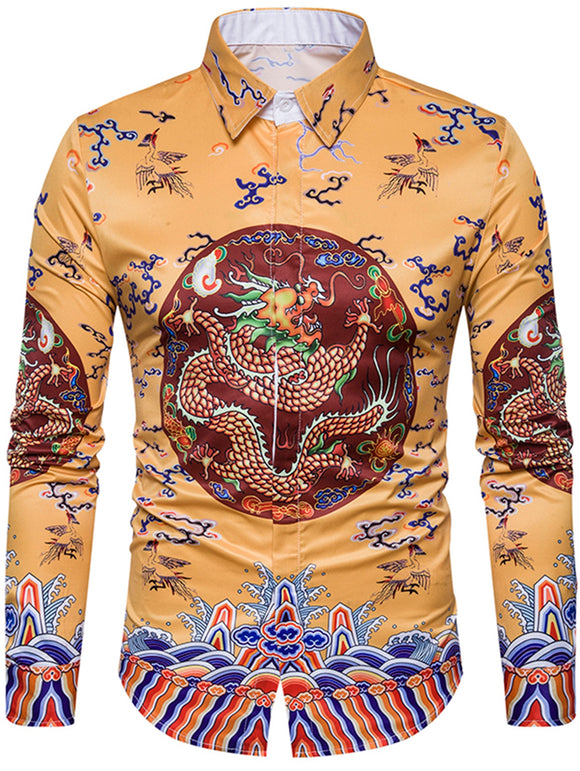 Turndown Collar Vintage Men's Shirt Chinoiserie Dragon Print