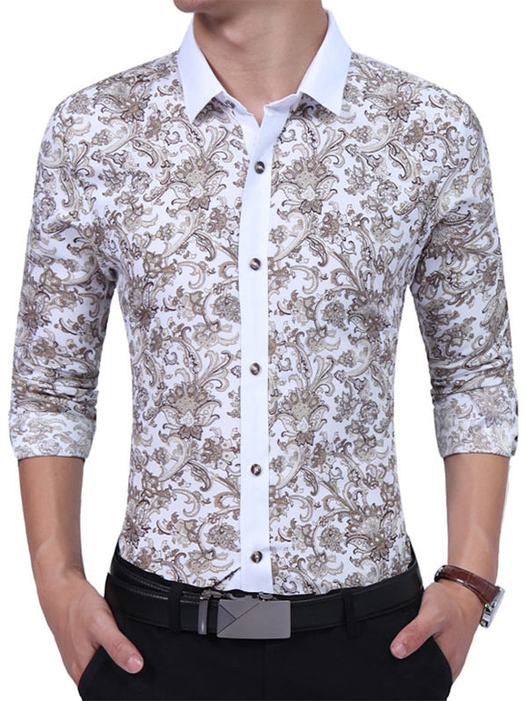 Vintage Floral Print Long Sleeve Men's Shirt