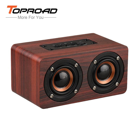 TOPROAD HIFI Wood Wireless Enceinte Bluetooth Speaker Portable Dual Sounders Mini 3D Subwoofer Loudspeaker