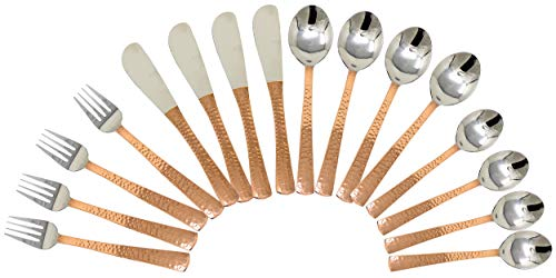 Service for 4, Flatware Party Cutlery Set Indian Copper and Stainless Steel Tableware: Flatware Sets