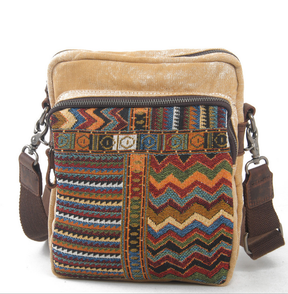 Vintage Style Ethnic Embroidery Canvas Shoulder Hippie Bag Unisex