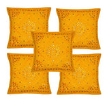 Set of 5 Yellow Decorative Embroidered Throw Pillows