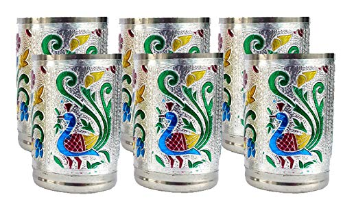 Set of 6 Stainless Steel Indian Handmade Glass