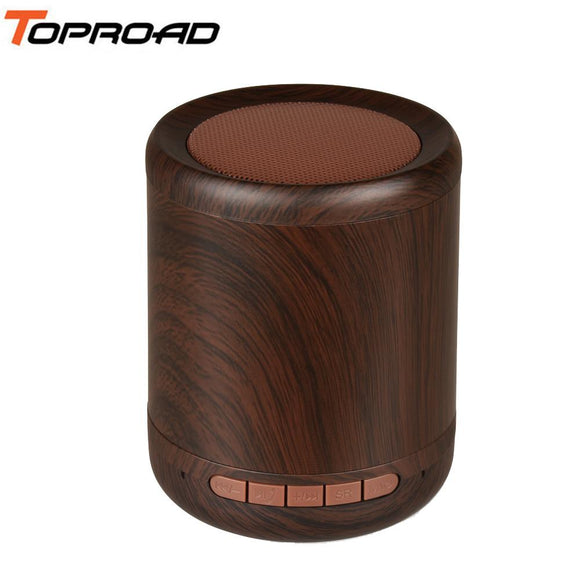 TOPROAD Mini Wooden Wireless Bluetooth Speaker Wood Stereo Sound Speakers With Mic Support AUX Line in TF Card Hands-free Call