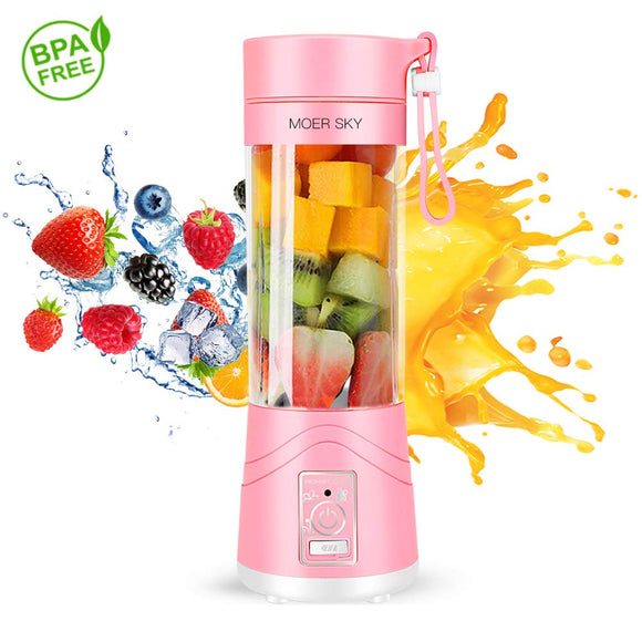 Portable Juicer Blender, Household Fruit Mixer - Six Blades in 3D, 380ml Fruit Mixing Machine with USB Charger Cable for Superb Mixing, USB Juicer Cup by Moer Sky (B), Large