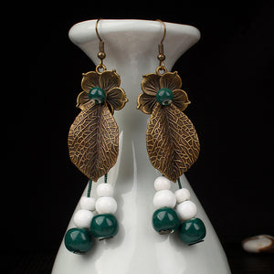 Vintage Leaves Flowers Copper Ceramic Bead Drop Earrings