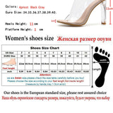 Women Slippers PVC Crystal Square heel Transparent Clear High Heels Summer Slippers Sandals Pumps