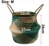 WHISM Foldable Handmade Storage Basket Folding Wicker Rattan Seagrass Belly Straw Garden Flower Pot Planter Laundry Basket