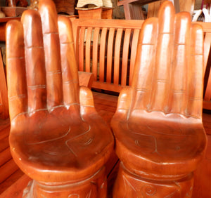 Set of Hands Wooden Handicraft Chair Stool with Backrest
