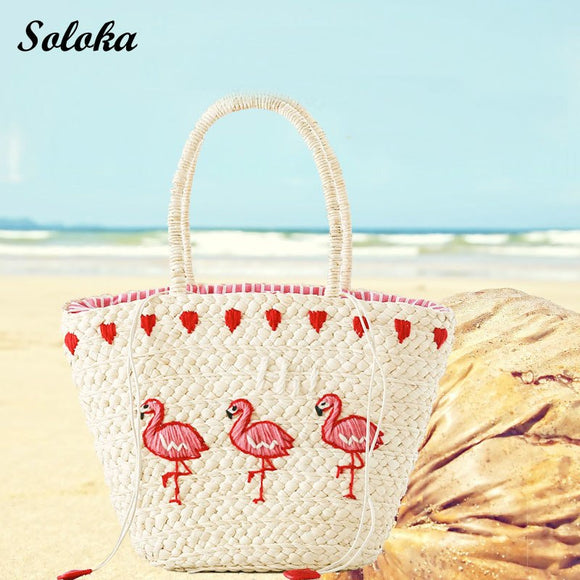 Women's Embroidery Large Straw Handbag Shoulder Bag Flamingo Beach Bags Big Tote Woven Bag Tote Bags