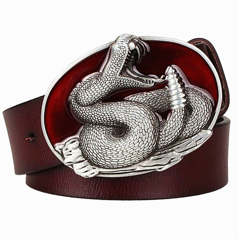 Genuine Leather Belt - Snake Buckle - OnlySnake