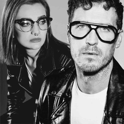 A male and female model wearing JOIUSS black glasses frames