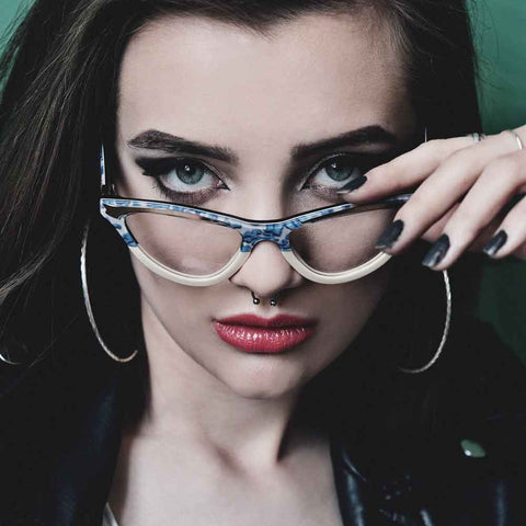 Female model wearing the MAryloo blue lace and cream womens glasses frame