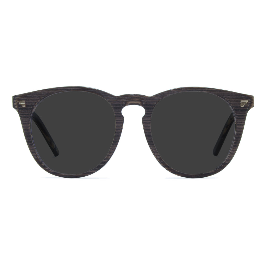 dark grey round sunglasses