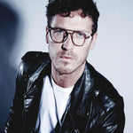 male model wearing silver aviator glasses