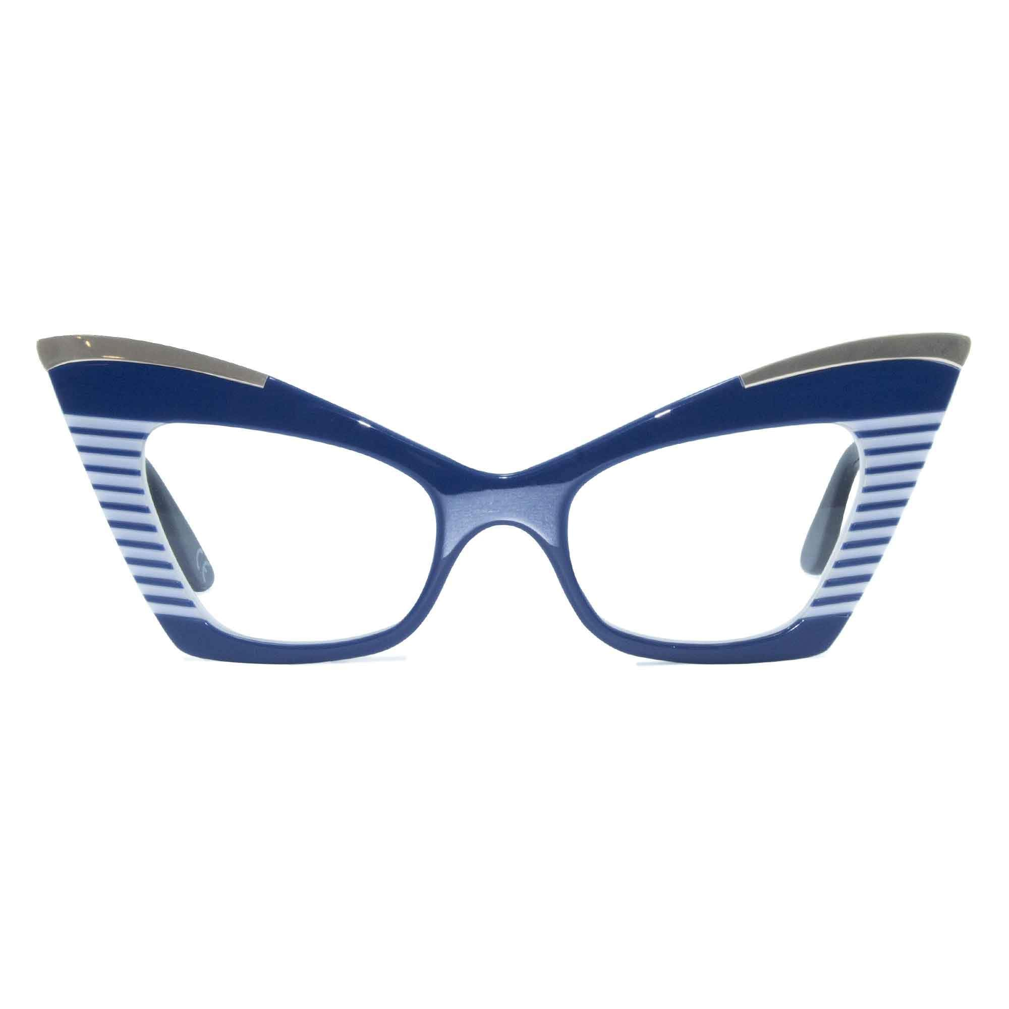 navy & white cat eye glasses