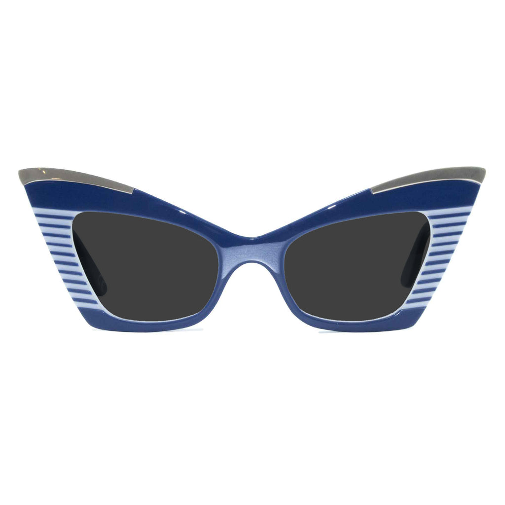 navy & white cat eye sunglasses