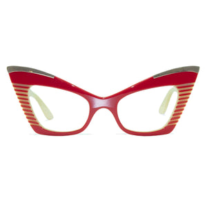 red & cream cat eye glasses